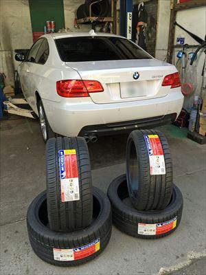 BMW3シリーズE92 ランフラットタイヤ交換