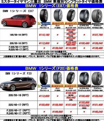 BMW 車種、メーカー別ランフラットタイヤ価格表